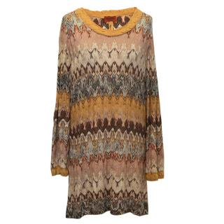 Missoni brown pattern dress and scarf