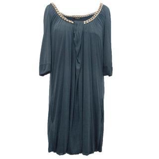 Balmain Petrol Blue Dress With Chain Detail Neckline