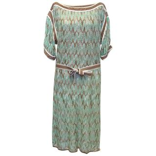 Missoni light blue and brown dress