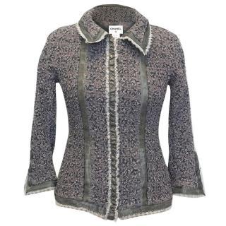 Chanel Grey Silk Zip Up Jacket