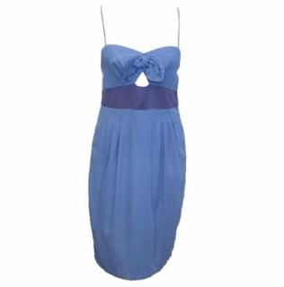 Sandro Blue Mini Dress with Bow Detail