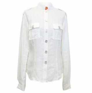 Shanghai Tang Off-White Linen Shirt with Chinese Character Buttons