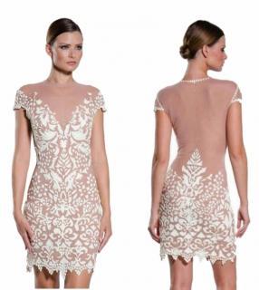 EMA SAVAHL Nude Handpainted Cocktail Dress