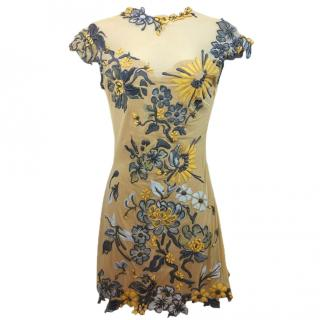 EMA SAVAHL Stretch Hand Painted Mesh Dress