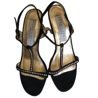 Pura Lopez diamante suede sandals, size 39