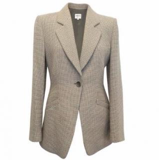 Armani Collezioni Grey and Cream Woollen Blazer
