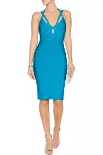 Herve Leger turquoise halter bandage dress