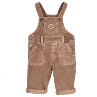 Gucci Boys Kids Tan Brown Corduroy Overalls