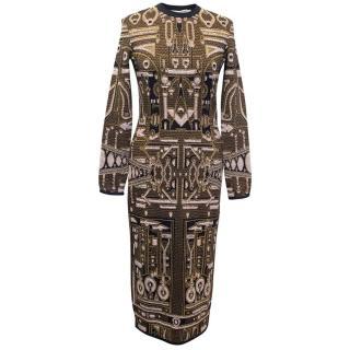 Mary Katrantzou brown and gold pattern dress