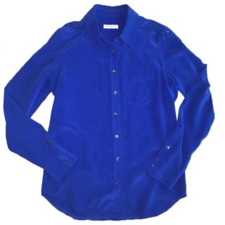 Equipment electric blue silk shirt with pocket detail