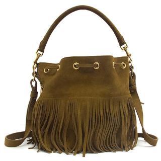 Saint Laurent Tan Leather Bucket Bag with Fringe