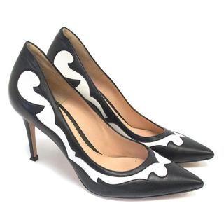 Gianvito Rossi Black and White Pointed Pumps