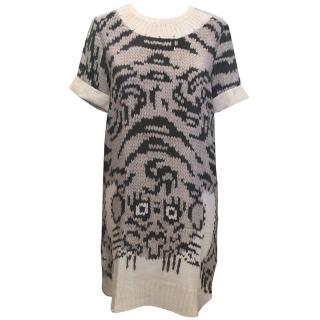 Joseph Black and White Knit Print Silk Dress