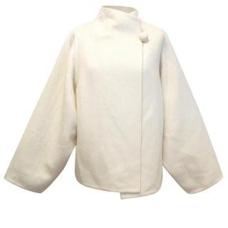 Hermes white wool and cashmere coat
