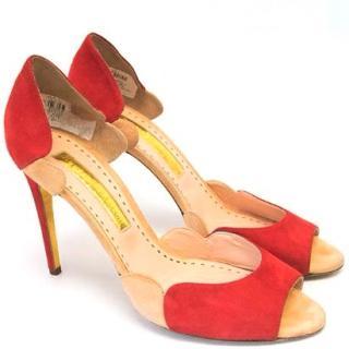 Rupert Sanderson Red and Pink Suede Peep Toe Heels