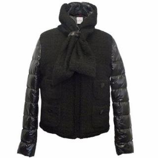 Moncler Black Puffer Jacket with Tweed Inserts and Scarf