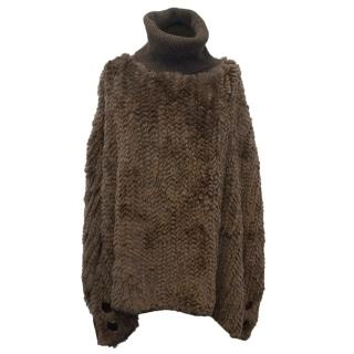 Fur and Cashmere Brown Poncho