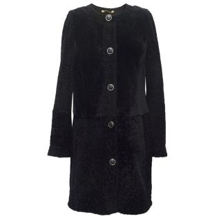 Tory Burch Navy Shearling Fur Coat