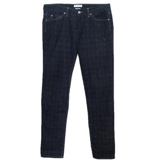 Isabel Marant Blue and Black Dogtooth Print Soft Jeans