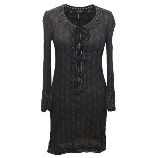 Isabel Marant Black Lace-Up Tunic with Grey Print