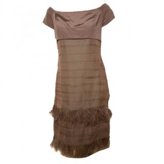 Natan Couture dress with feathers and matching scarf