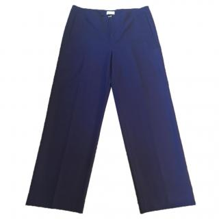 Malo indigo blue cotton stretchy wide leg trousers