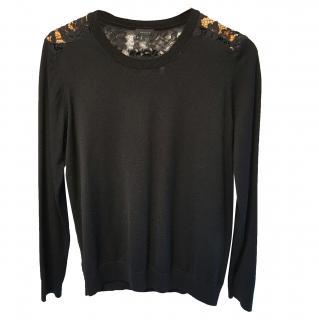 Theory Lace Back Sweater Black