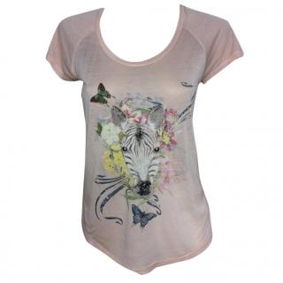 Paul & Joe pink t-shirt with print and scoop neck