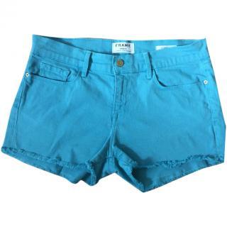 FRAME DENIM 'Le Cutoff' turquoise blue shorts