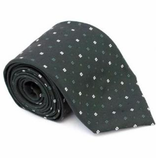 Prada Dark Green Silk Tie with Square Print