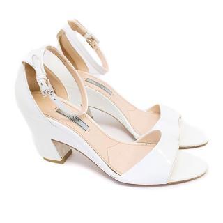 Prada white patent leather sandals