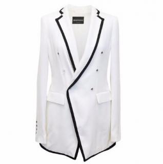 Emporio Armani White Blazer with Black Trim