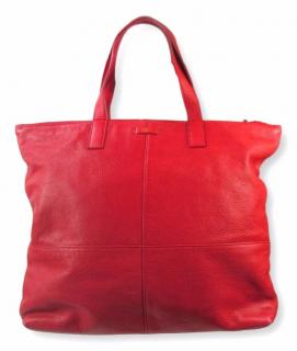 JAEGER LONDON Tomato Red Leather Zip Up Shopper Tote Bag