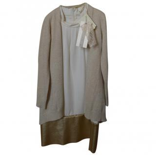 Monnolisa dress with golden knit cardigan with diamante,  5-7yrs