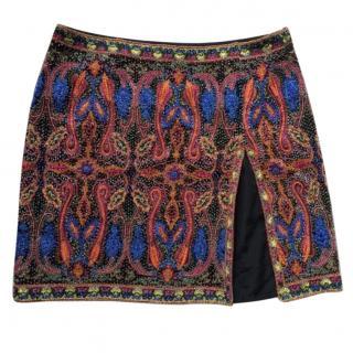 ESCADA Beaded Multi-Colored Paisley Print Mini Skirt
