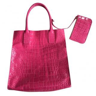 NEW Pink Aila Croc Embossed Bag