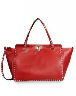 Valentino Red Leather Medium Rockstud Tote