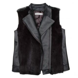 Fur and Leather Biker Vest