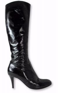 Sergio Rossi Patent Leather Black Stiletto Knee High Boots