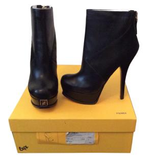 Fendi lamb and calf black ankle boots