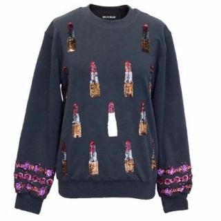 House of Holland Navy Sweater with Sequin Lipsticks