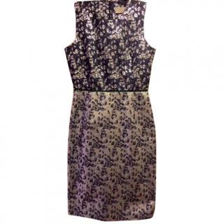 Preen by Thornton Bregazzi Silver/Navy Jacquard Elster Dress