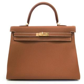 Hermes Kelly 35cm in Gold Togo Leather