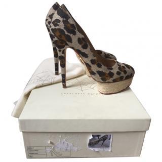 Charlotte Olympia Dolly Platform heels in Leopard Linen & Raffia