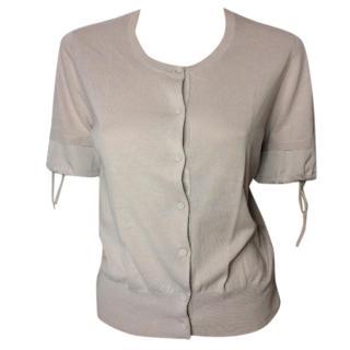 Paule Ka blush round neck cardigan with short sleeves