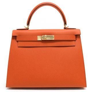 Hermes Sellier Kelly 28cm in Feu Orange