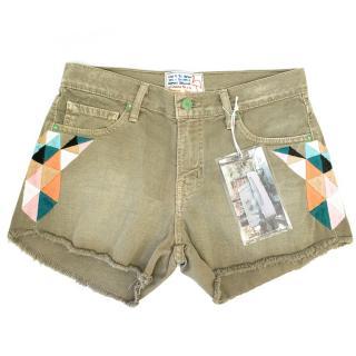 Sandrine Rose Khaki Denim Shorts