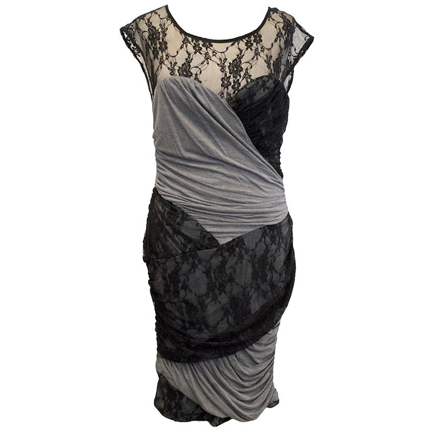 Tracy Reese Grey Jersey Dress with Black Lace