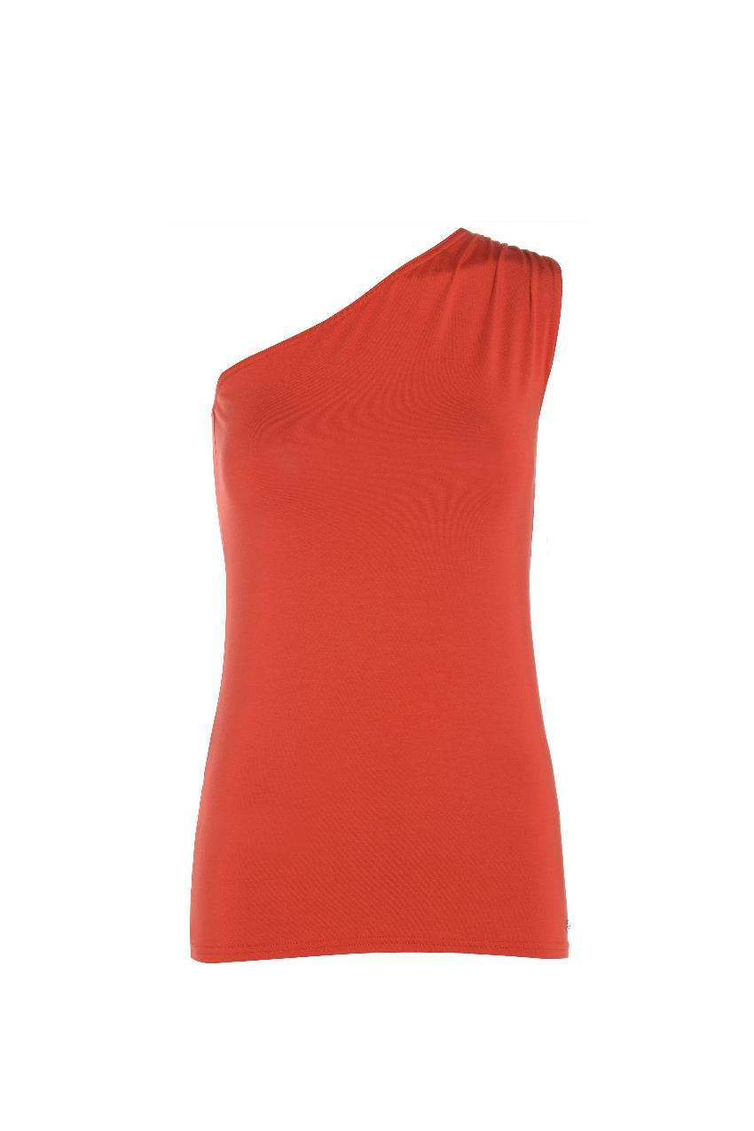 Belinda Robertson Luxe Jersey One Shouldered Vest, Rust Red, Extra Large