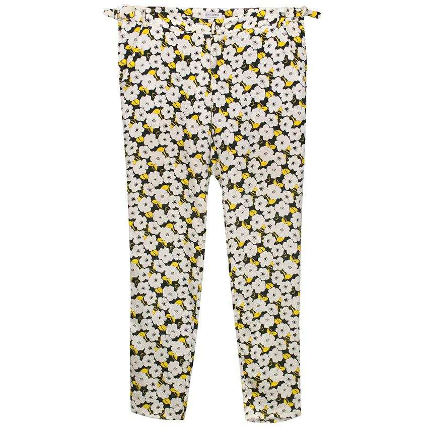 Roseanna Black Trousers with White and Yellow Floral Print